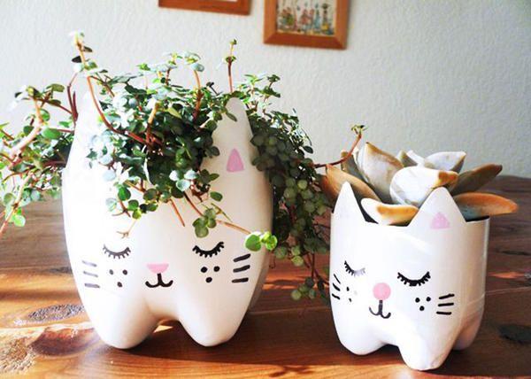 ghivece de flori din sticle de plastic, foto cu întinderi de Internet