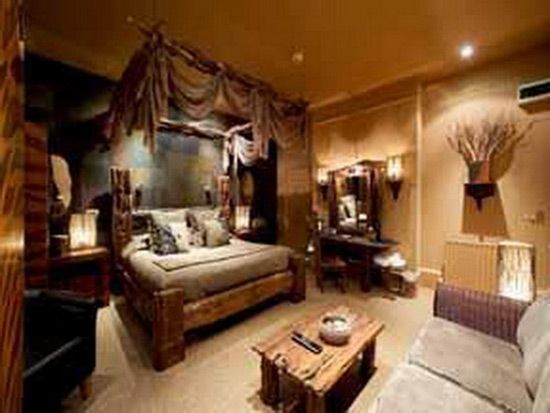 Afriški slog v notranjosti spalnico