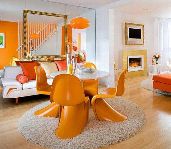 Očarljiv Modern-jedilnica-Dekoraterstvo-Z-Orange-Round-preproge-Rug