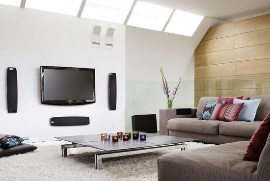 Marvelous-TV-Flat-zaslon-na-na-beli-Wall-Decor Gray-kavč-Modern-Style-Sodobna-dnevna-soba-pohištvo