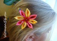 Kanzashi cvet barrettes za fotografijo