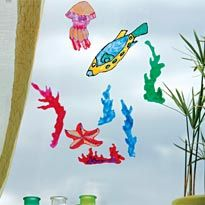 Otroška vitraž okna v morskem slogu