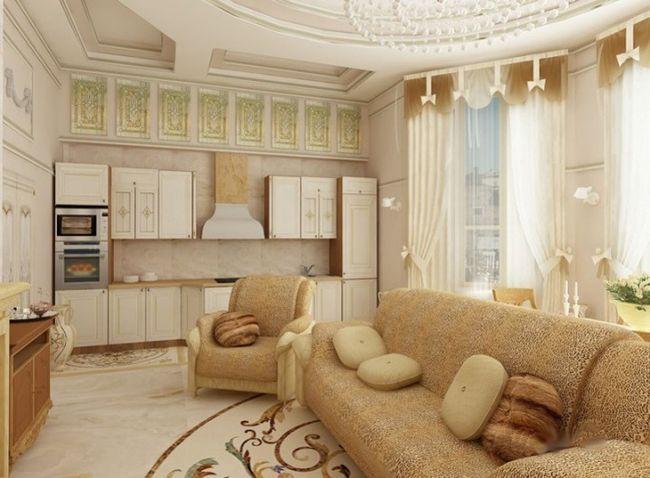 Oblikovanje dnevna soba s štukaturami