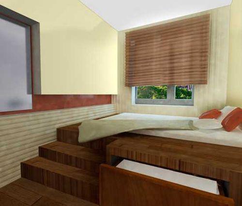 Stopničke za posteljo v majhnem ozko spalnico