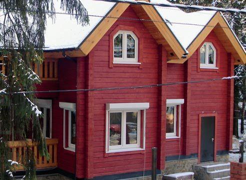 Hiša lepljenega furnirja lesa