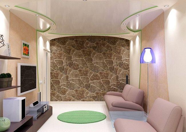 Zasnova stropa v dnevni sobi