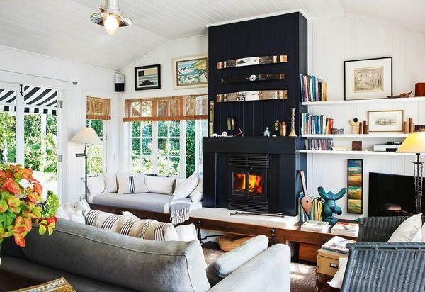 Living cu semineu, design interior
