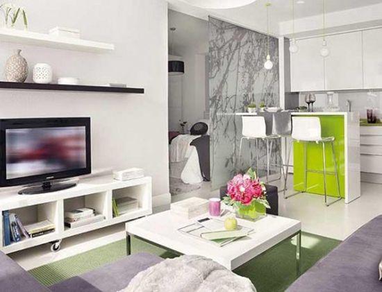 Kuhinja-dnevna soba v visokem-tech stil