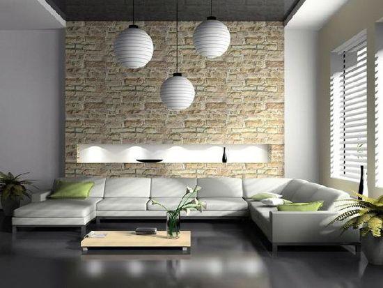 Umetni kamen v dnevni sobi v stilu hi-tech