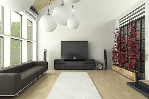 Tla v dnevni sobi v stilu hi-tech