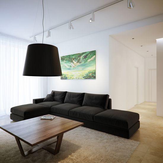 Osvetlitev v dnevni sobi v stilu hi-tech