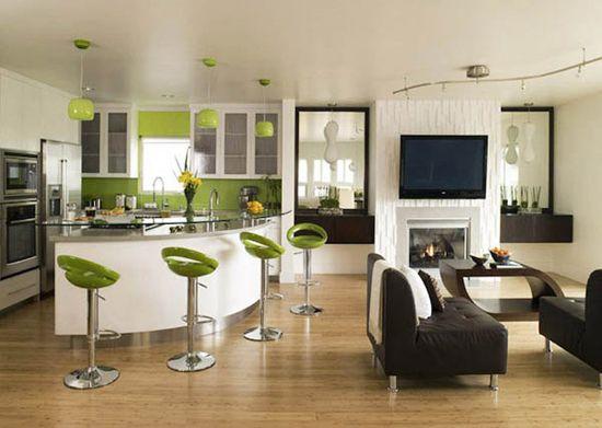 Ločitev kuhinjo in dnevni prostor z barom