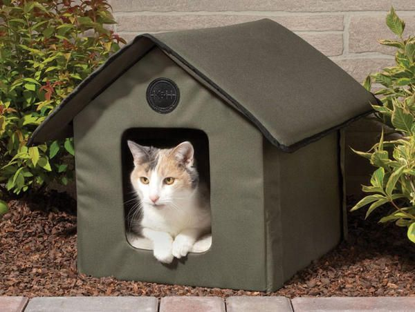 Мягкий складной домик для кошки, фото с сайта http://thegreenhead.com