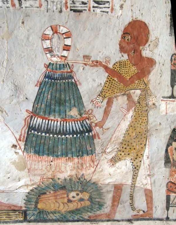 Изображение зеленого лука на стенах гробницы в долине мертвых.
