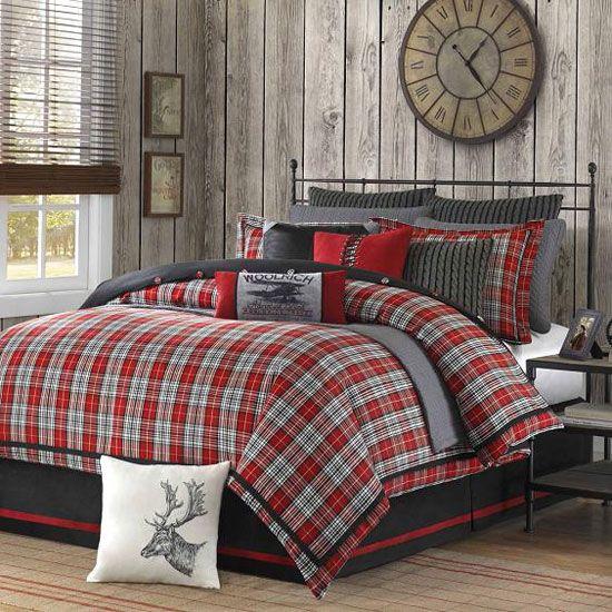 Karirasti tekstila v notranjosti spalnico