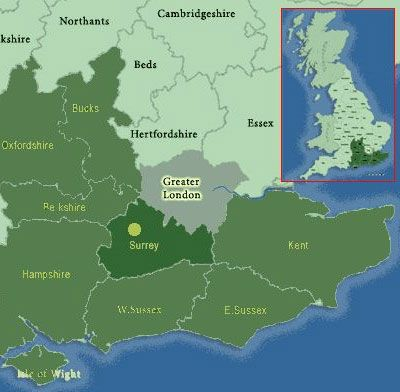 Podnebje in vreme. County Surrey (Surrey), jugovzhodna Anglija