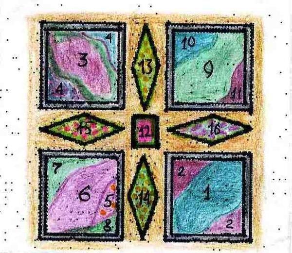Square Garden v vijolične in zelene barve