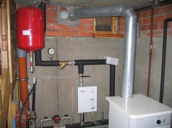 Kotlovnica majhne hiše. V spodnjem desnem kotu - plinski kotel v belem primeru - backup električni kotel, rdeča posoda - akumulator