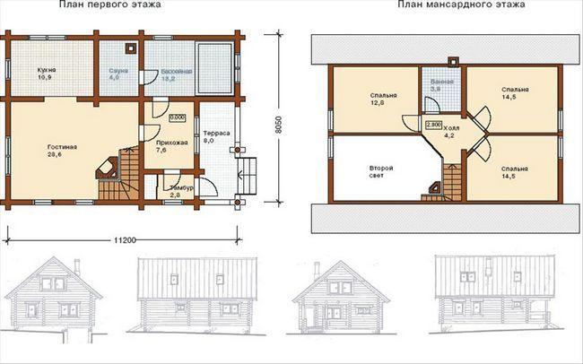 8x8 načrt dvonadstropna hiša