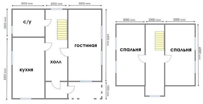 Hiša načrt 8x8 s podstrešja
