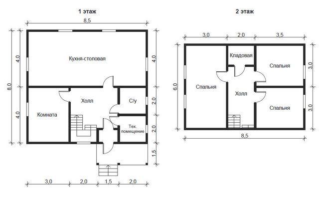 Hiša načrt 8,5h8