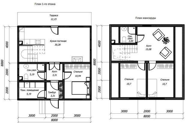 Hiša načrt 8x8 dauhetazhnogo