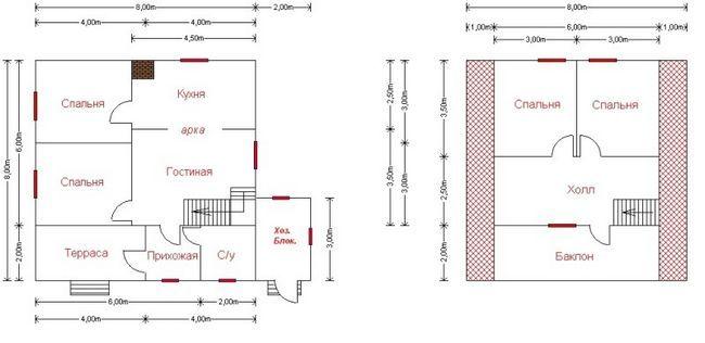 hiša 2 nadstropij 8x8