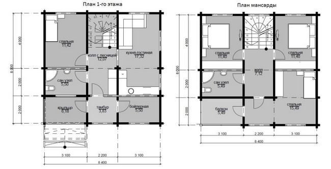 8x8 risanje hiša v dveh etažah