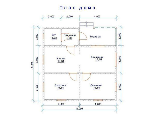 8x8 načrt enonadstropna hiša