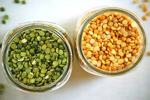 Спелый и зеленый сухой горох