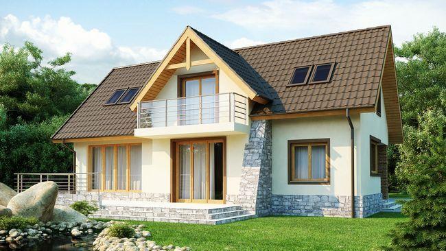 Hiša pene blokov in balkonom