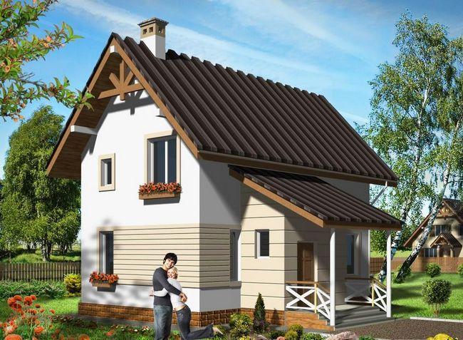 Hiša pene bloka s streho