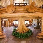 Domov dizajn z rastočim drevesom v preddverju