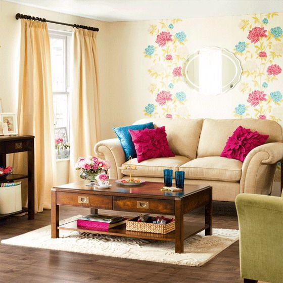 Srečno-Flowers-Wallpaper-v-Mali Modern-dnevna soba